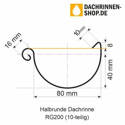 Titanzink Dachrinne halbrund RG200 Länge 1,0 Meter