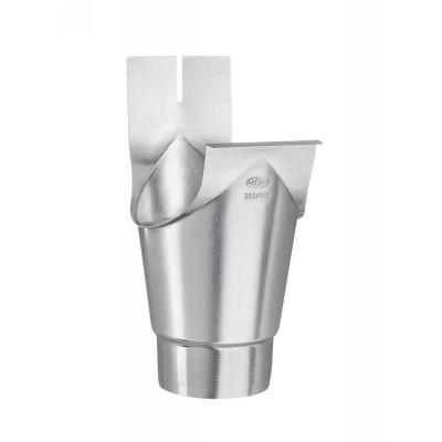 Titanzink Einhangstutzen schlank/rund RG333/DN100 für halbrunde Dachrinnen