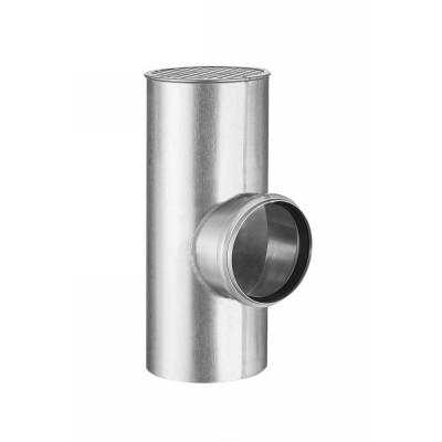 Titanzink Flachdach-Abzweig rund HT/KG Ø110 an Fallrohr DN120