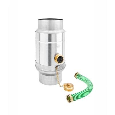 Titanzink Regenwassersammler mit Schlauchpaket für Fallrohr DN100