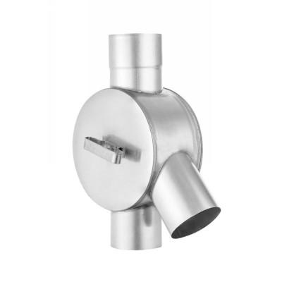 Titanzink Wasserverteiler mit Drehgriff für Fallrohr DN76