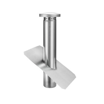 Titanzink Dunstrohr mit Dunsthut auf Grundplatte ohne Wasserfalz DN120