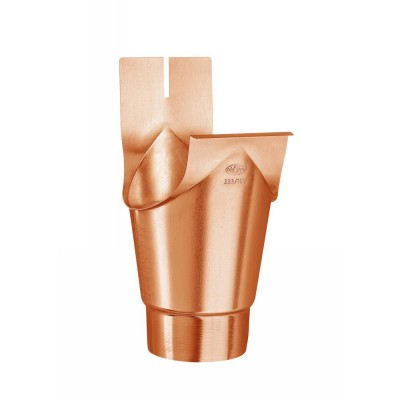 Kupfer Einhangstutzen schlank/rund RG333/DN100 für halbrunde Dachrinnen