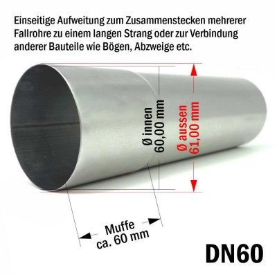 10er Pack Aluminium Fallrohr DN60 rund Länge: 1 Meter