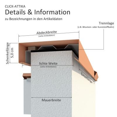 Click-Attika aus Aluminium Anthrazit Länge: 3,00 Meter für 24 cm Mauerbreite