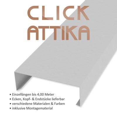 Click-Attika aus Aluminium Natur Länge: 1,00 Meter für 24 cm Mauerbreite