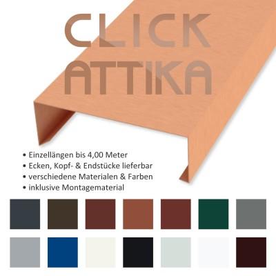 Click-Attika aus Stahlblech Kupferbraun Länge: 1,00 Meter für 16 cm Mauerbreite